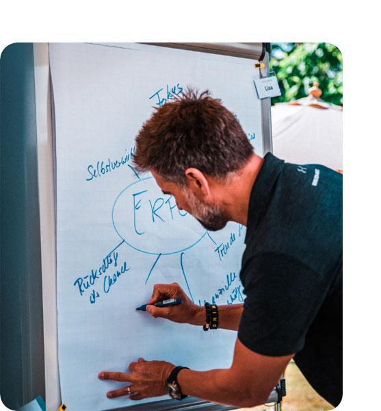 Ein Mann schreibt etwas auf ein Whiteboard – symbolisiert die vielfältigen Karrieremöglichkeiten bei karriere tutor®
