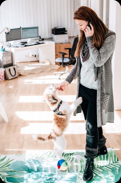 Eine Mitarbeiterin von karriere tutor® arbeitet im Homeoffice. Immer dabei: Ihr Hund.