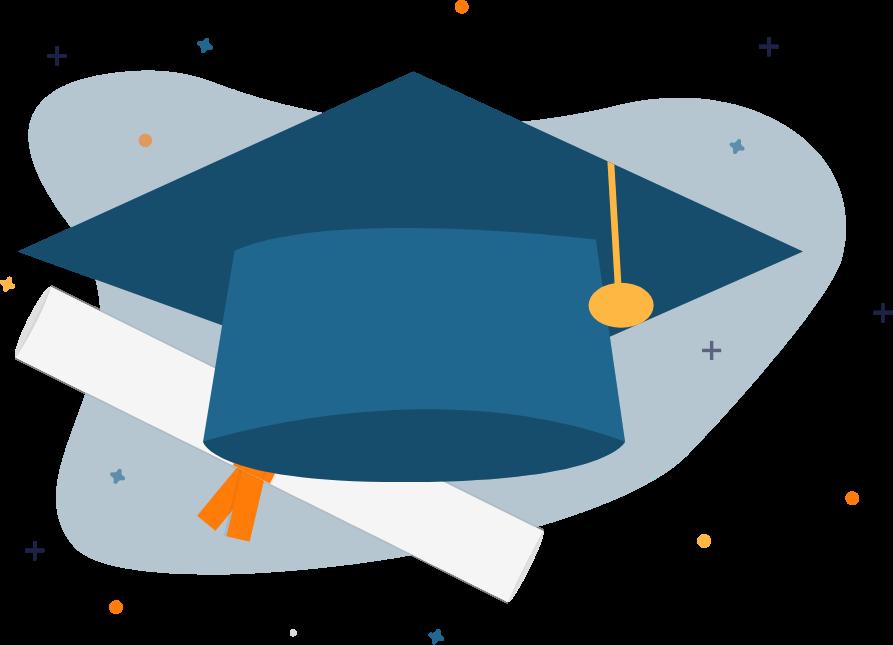 Die Illustration eines Absolventenhutes steht für den erfolgreichen Abschluss einer Online-Weiterbildung bei karriere tutor®.