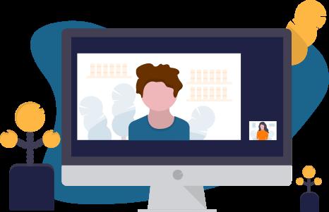 Illustration: Auf einem Bildschirm mit Videochat spricht eine Person in einem Webinar.