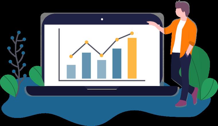 Illustration: Ein Mann betrachtet auf einem Laptop die Kurse und Analysen der Börse.