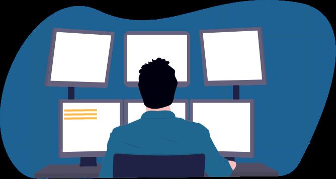 Illustration: Ein Mann sitzt an einem Schreibtisch, auf dem sechs verschiedene Bildschirme stehen.