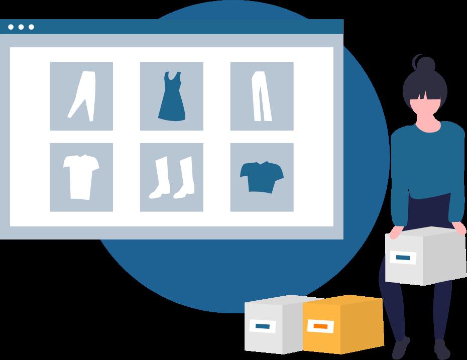 Illustration: Eine Frau packt Kleidungsstücke, die in einem Onlineshop bestellt wurden, in verschiedenen Paketen zusammen.