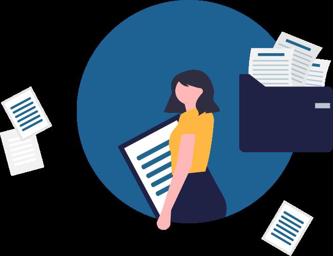 Illustration: Eine Frau legt verschiedene Papiere in einer Dokumentenmappe ab.