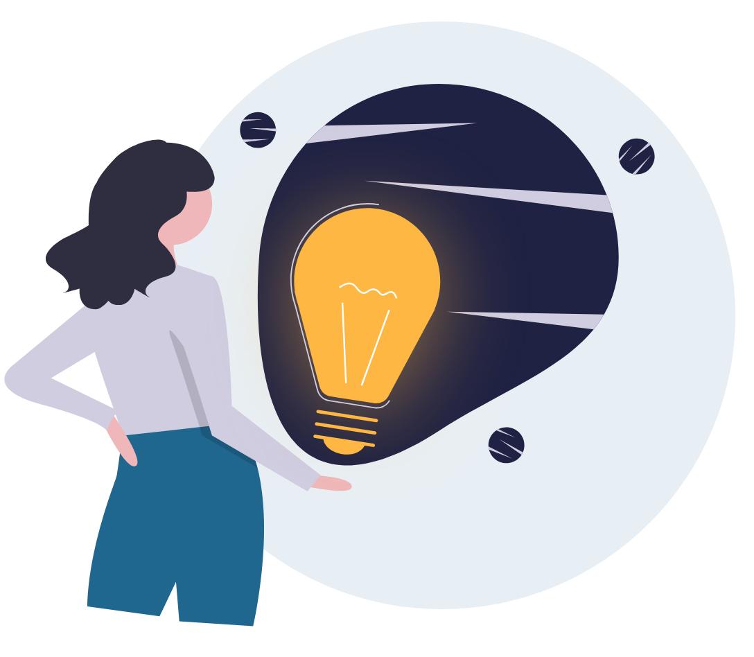 Illustration: Eine Frau hält eine große Glühbirne in der Hand, die für das Wissen aus dem Newsletter von karriere tutor® steht.