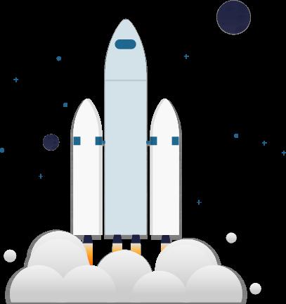 Illustration: Eine Rakete mit zwei Triebwerken startet durch.