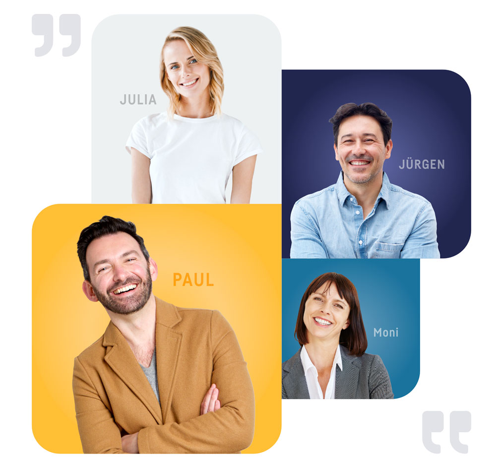 Portraets mehrerer zufriedener Teilnehmer, die erfolgreich an einer Online-Weiterbildung bei karriere tutor® teilgenommen haben