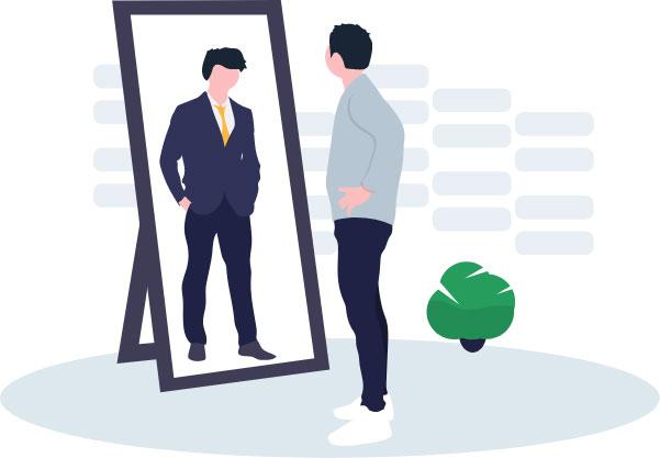 Die Illustration eines leger gekleideten Mannes, der sich im Ganzkörperspiegel betrachtet, wo sein Spiegelbild einen Anzug trägt.