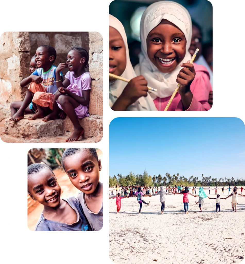 Glückliche Kinder spielen oder lächeln in die Kamera: Dank der Ausbildung der CR HOPE Foundation – mit Unterstützung von karriere tutor® – können sie sich auf ihre Zukunft